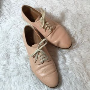 Fendi Millennial Pink Oxford 39 Flat Leather Shoes